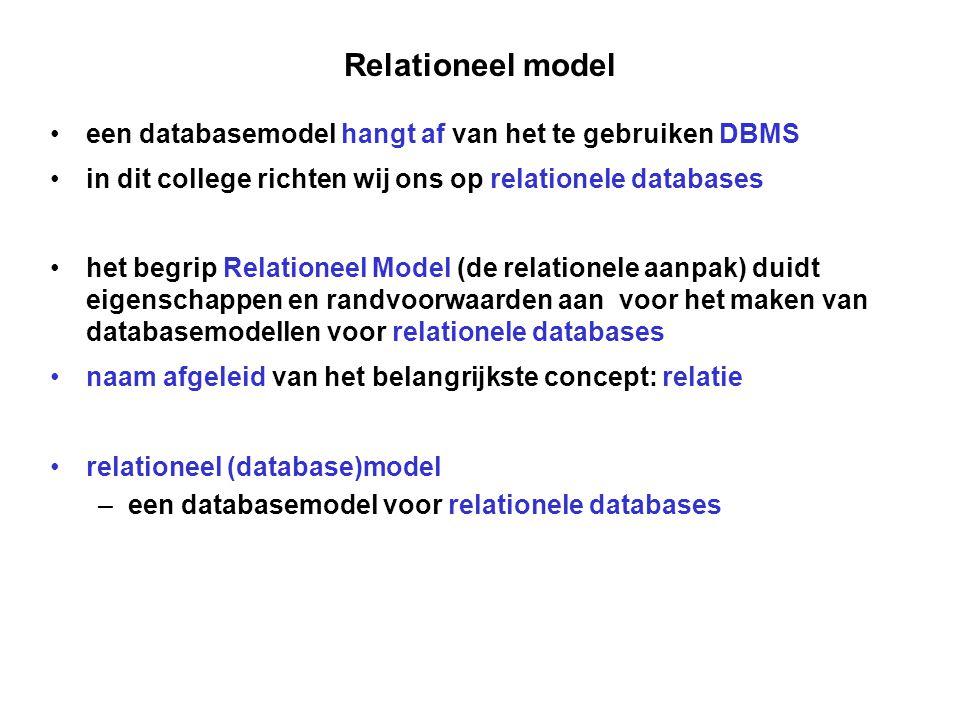 Relationeel model een databasemodel hangt af van het te gebruiken DBMS