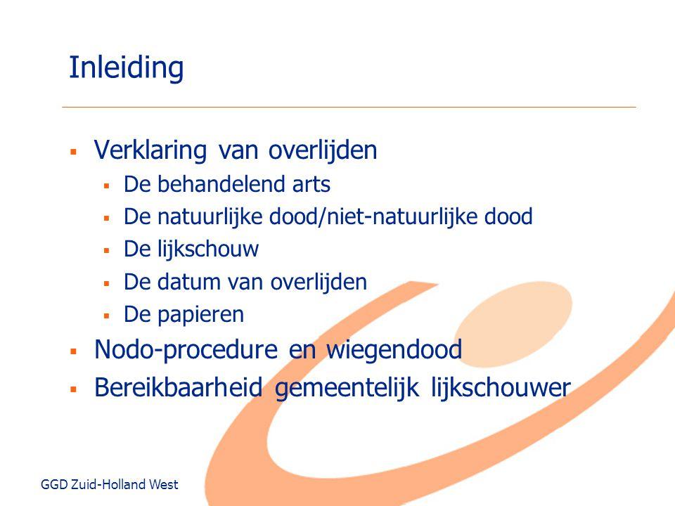 Inleiding Verklaring van overlijden Nodo-procedure en wiegendood