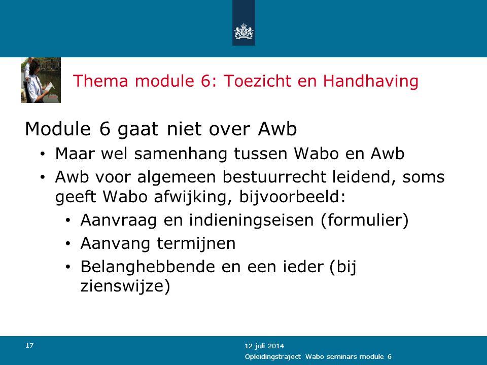 Thema module 6: Toezicht en Handhaving