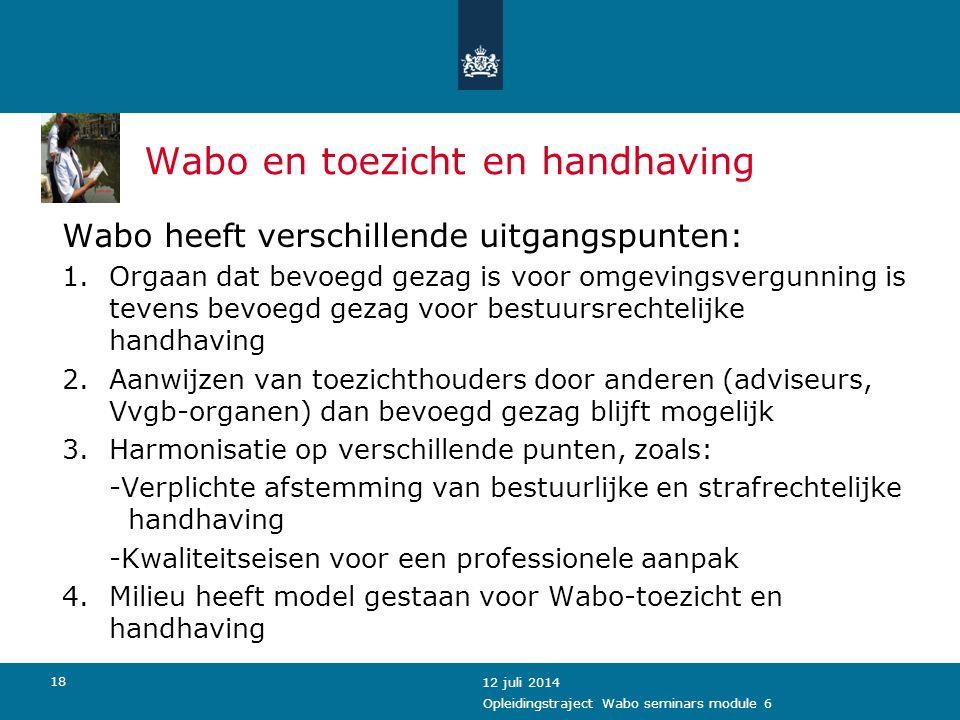 Wabo en toezicht en handhaving