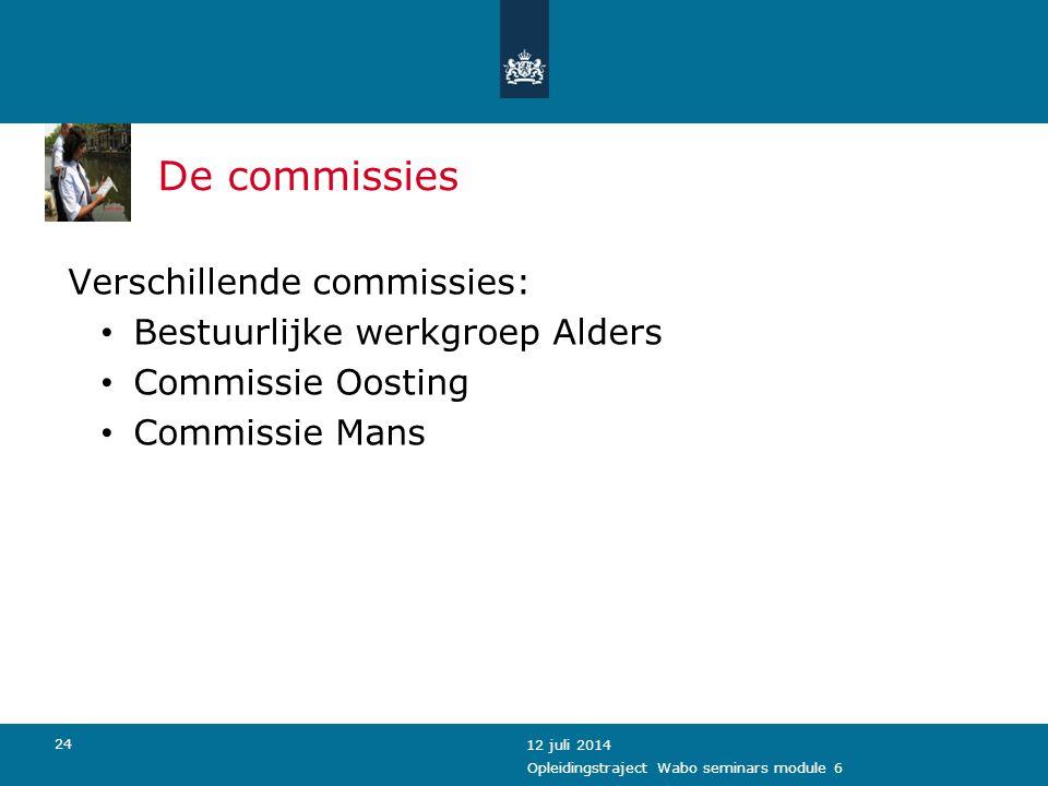 De commissies Verschillende commissies: Bestuurlijke werkgroep Alders