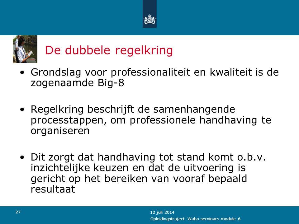 De dubbele regelkring Grondslag voor professionaliteit en kwaliteit is de zogenaamde Big-8.