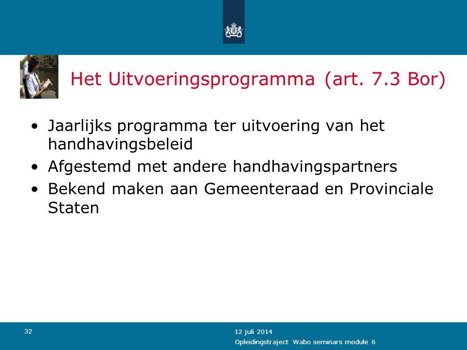 Het Uitvoeringsprogramma (art. 7.3 Bor)