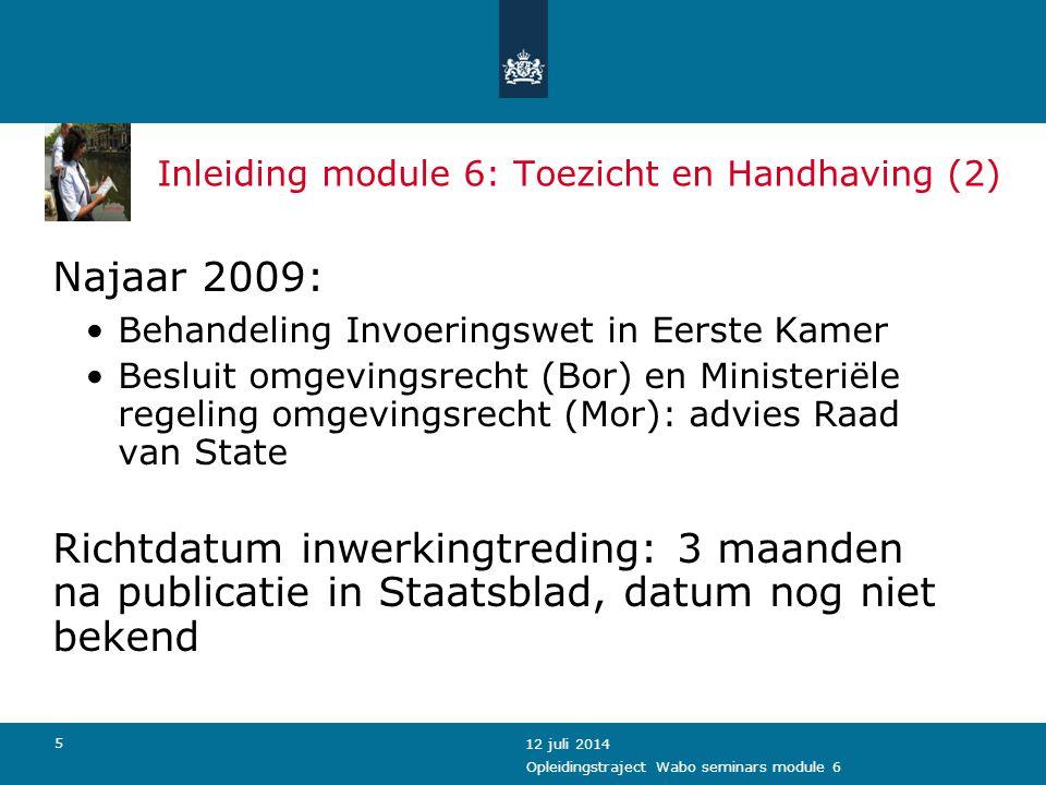 Inleiding module 6: Toezicht en Handhaving (2)