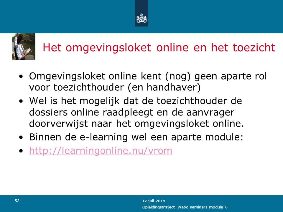 Het omgevingsloket online en het toezicht