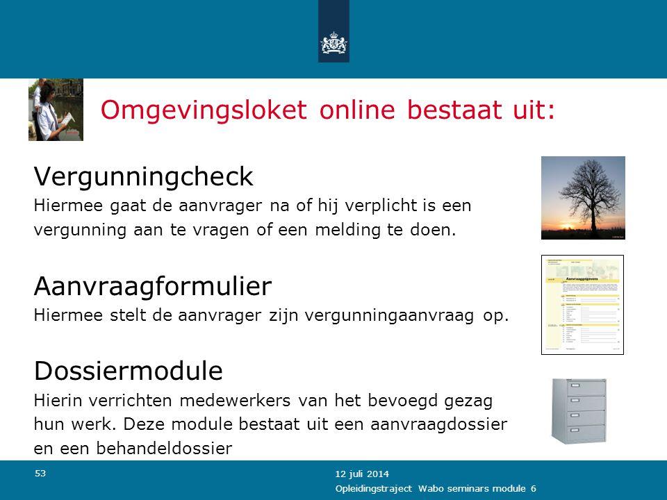 Omgevingsloket online bestaat uit: