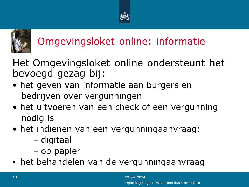 Omgevingsloket online: informatie