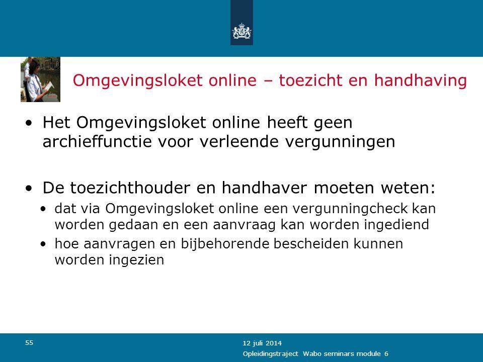 Omgevingsloket online – toezicht en handhaving