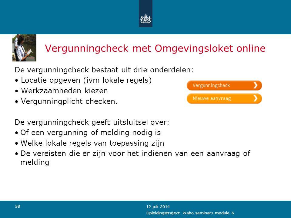 Vergunningcheck met Omgevingsloket online