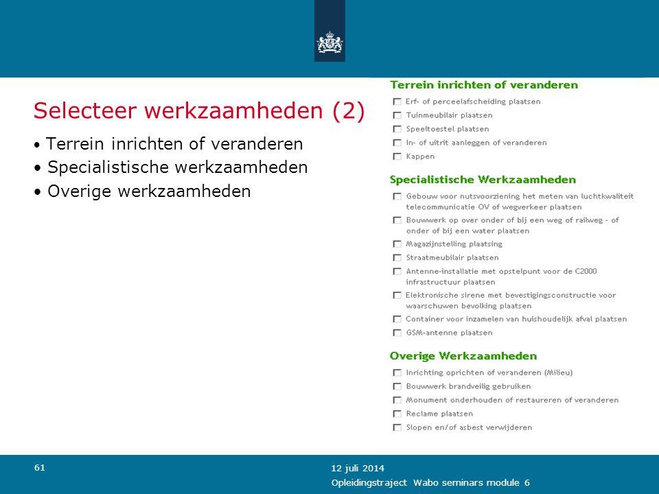 Selecteer werkzaamheden (2)
