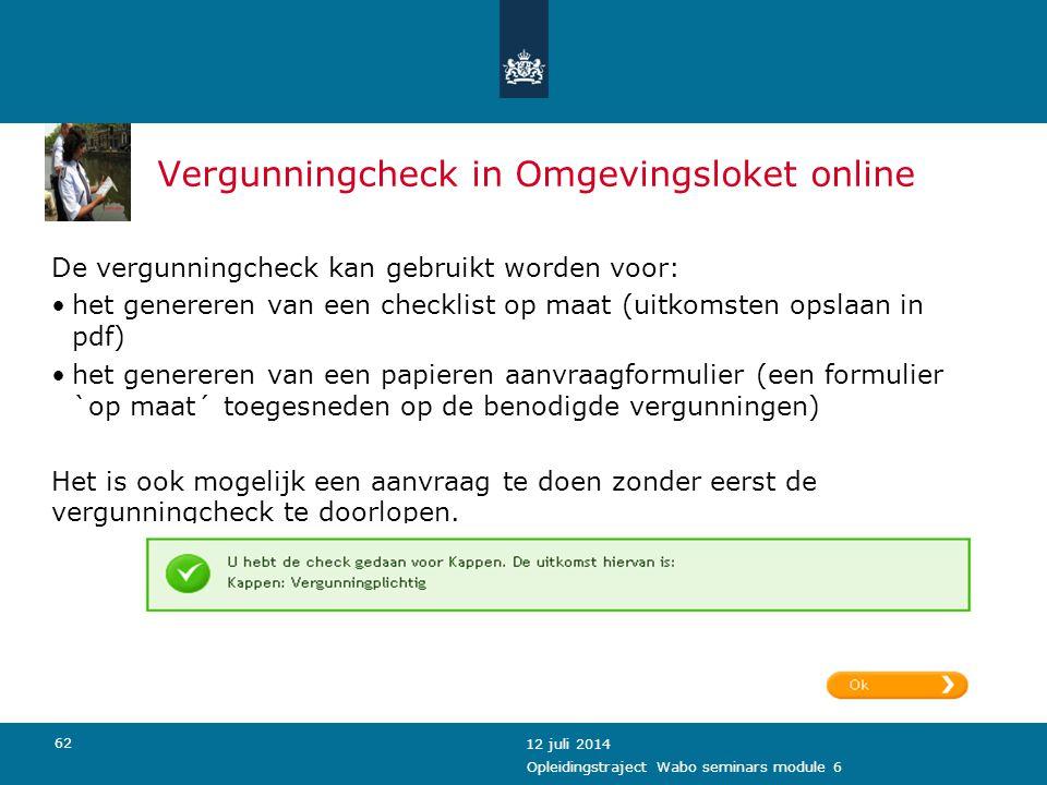 Vergunningcheck in Omgevingsloket online