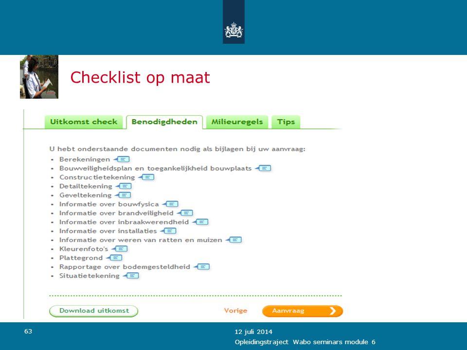 Checklist op maat 4 april 2017