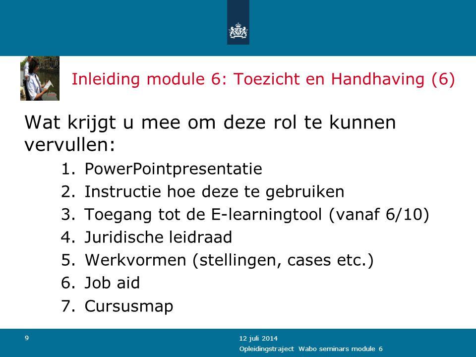 Inleiding module 6: Toezicht en Handhaving (6)