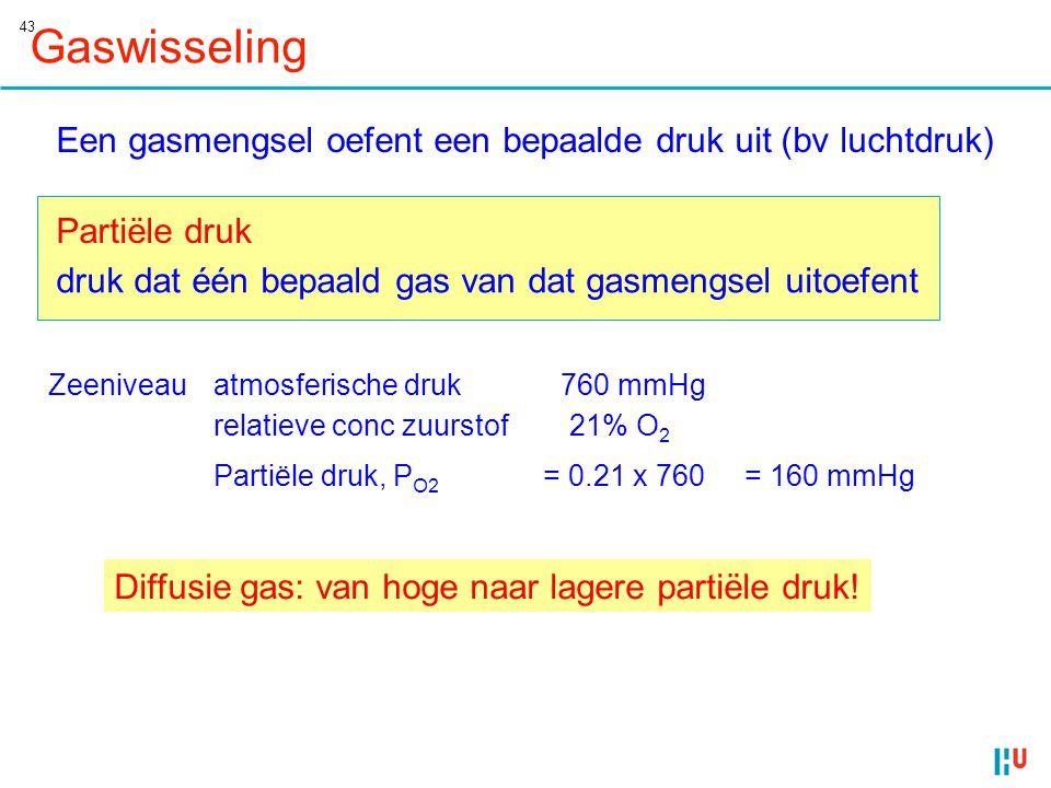 Gaswisseling Een gasmengsel oefent een bepaalde druk uit (bv luchtdruk) Partiële druk. druk dat één bepaald gas van dat gasmengsel uitoefent.