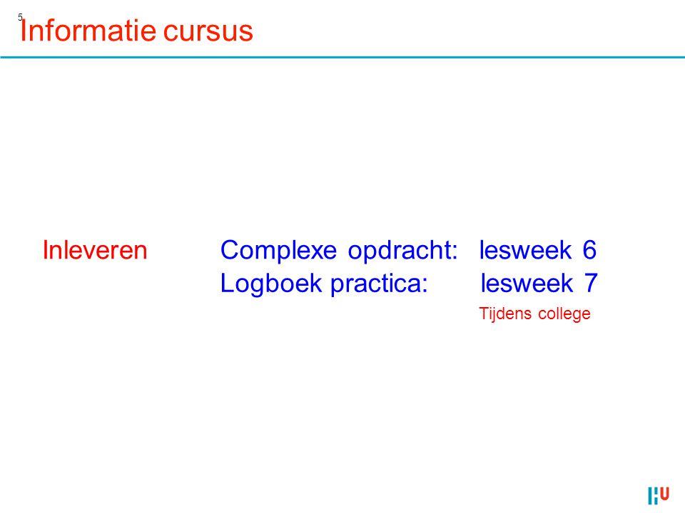 Informatie cursus Inleveren Complexe opdracht: lesweek 6