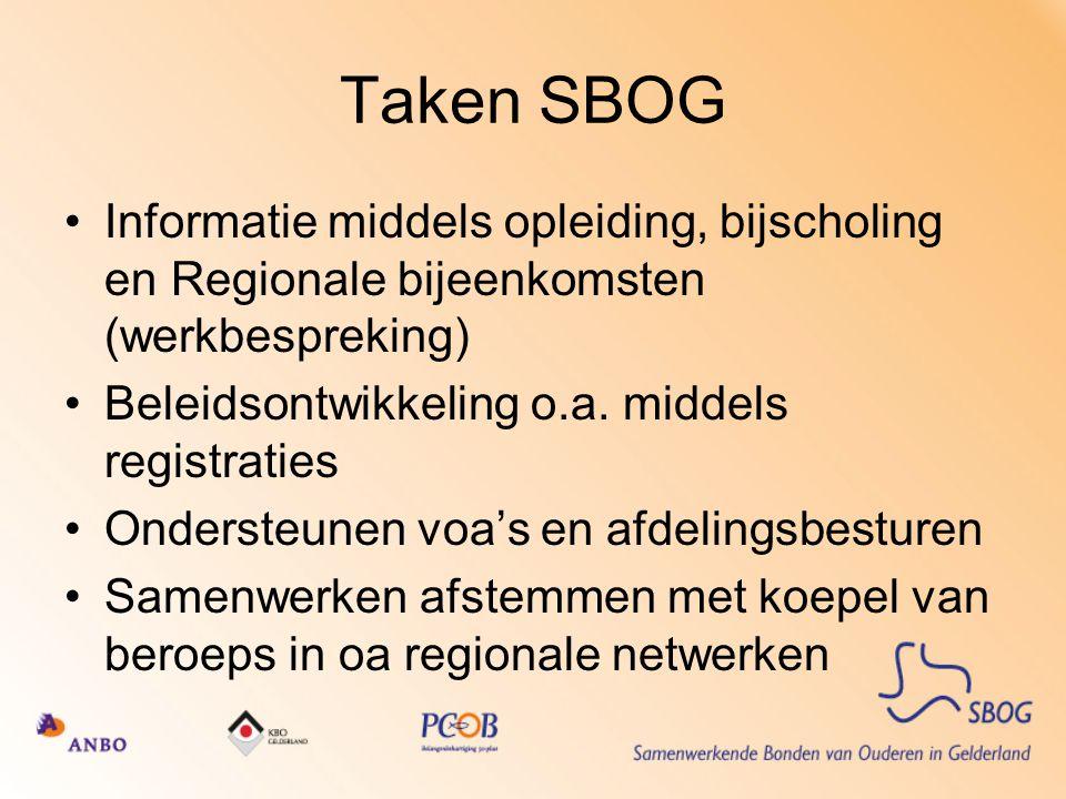 Taken SBOG Informatie middels opleiding, bijscholing en Regionale bijeenkomsten (werkbespreking) Beleidsontwikkeling o.a. middels registraties.