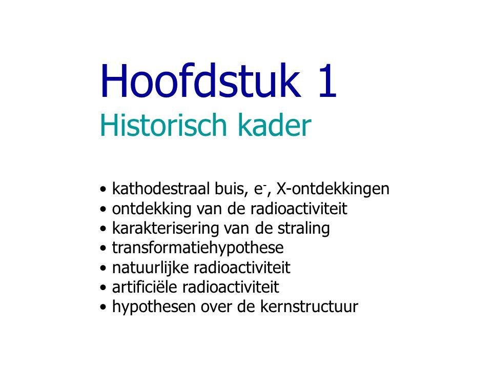 Hoofdstuk 1 Historisch kader kathodestraal buis, e-, X-ontdekkingen
