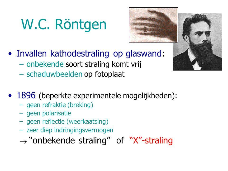 W.C. Röntgen Invallen kathodestraling op glaswand:
