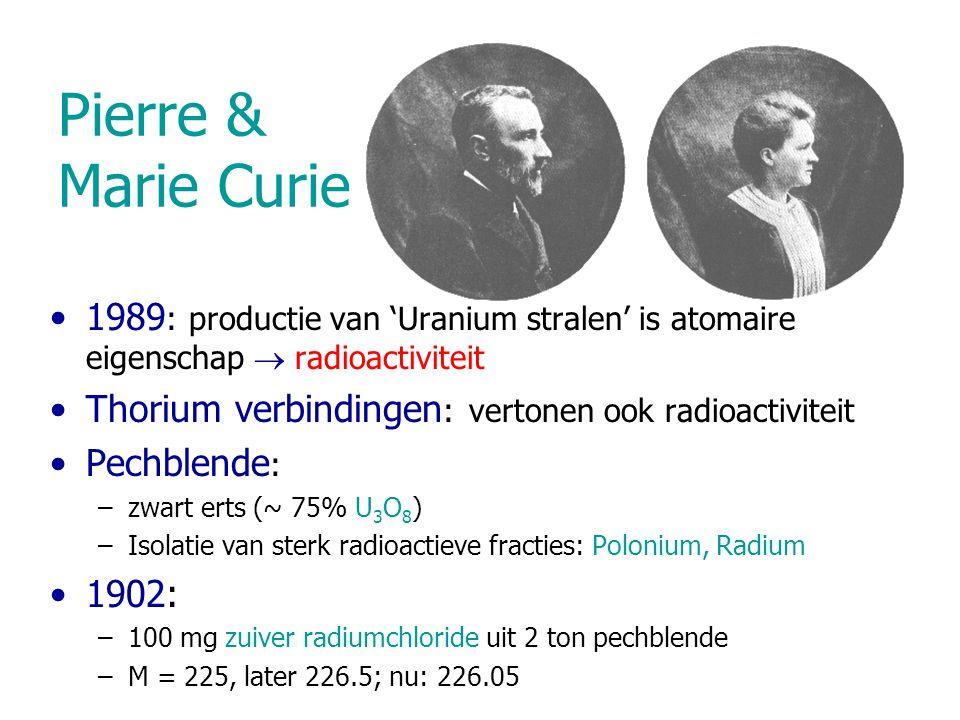 Pierre & Marie Curie 1989: productie van 'Uranium stralen' is atomaire eigenschap  radioactiviteit.