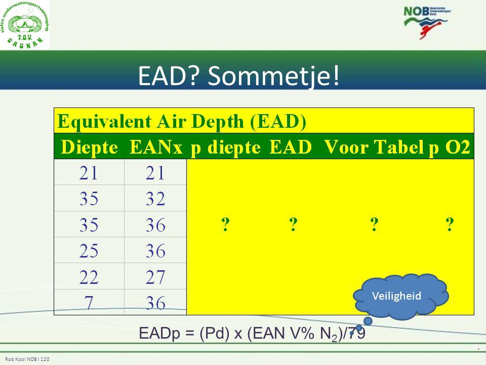 EAD Sommetje! Veiligheid EADp = (Pd) x (EAN V% N2)/79