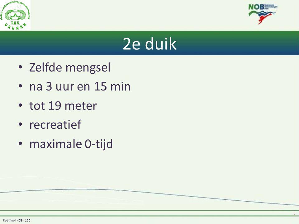 2e duik Zelfde mengsel na 3 uur en 15 min tot 19 meter recreatief