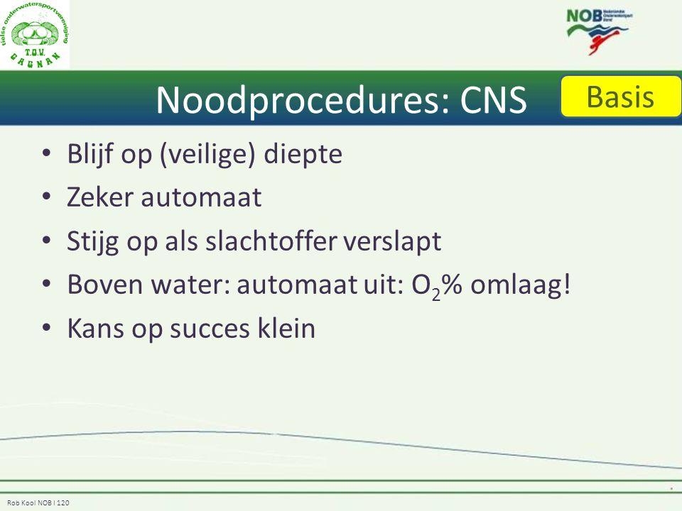 Noodprocedures: CNS Basis Blijf op (veilige) diepte Zeker automaat