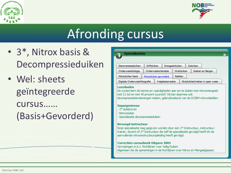 Afronding cursus 3*, Nitrox basis & Decompressieduiken