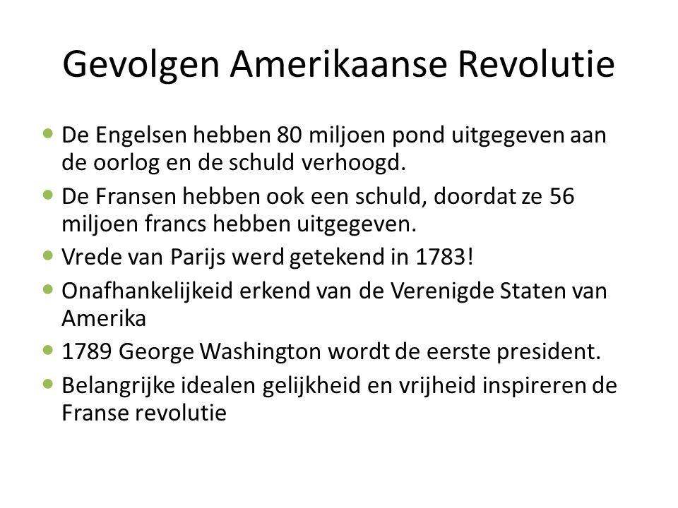 Gevolgen Amerikaanse Revolutie