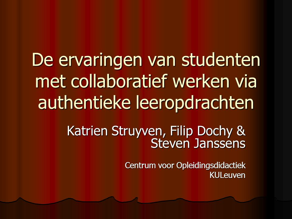 De ervaringen van studenten met collaboratief werken via authentieke leeropdrachten