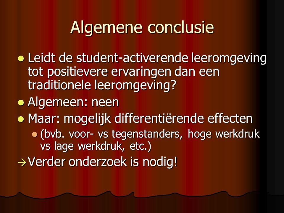 Algemene conclusie Leidt de student-activerende leeromgeving tot positievere ervaringen dan een traditionele leeromgeving
