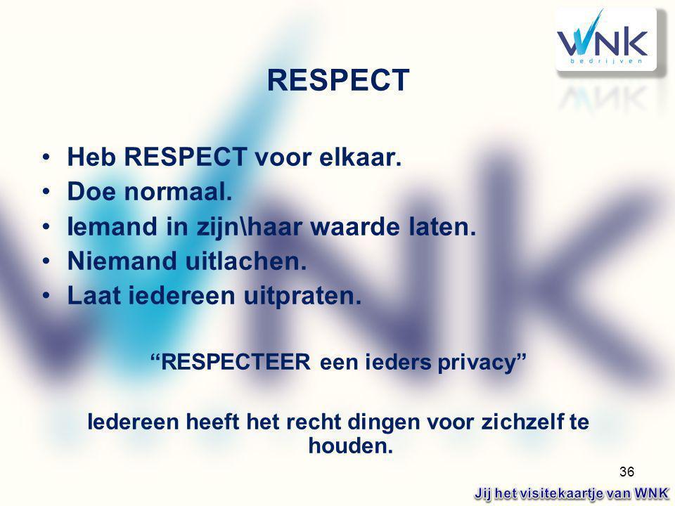 RESPECT Heb RESPECT voor elkaar. Doe normaal.