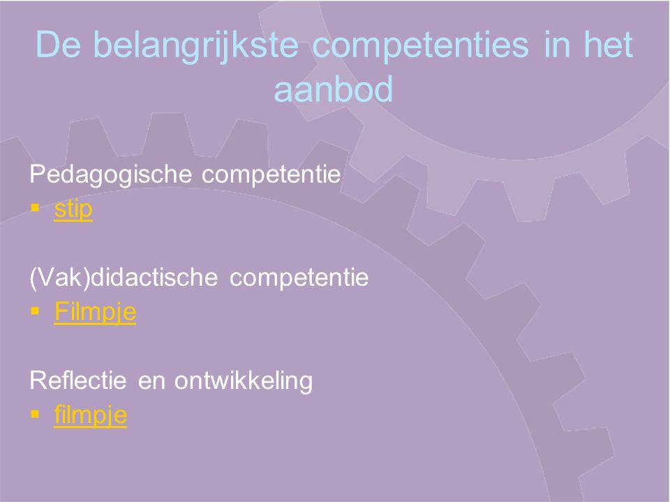 De belangrijkste competenties in het aanbod