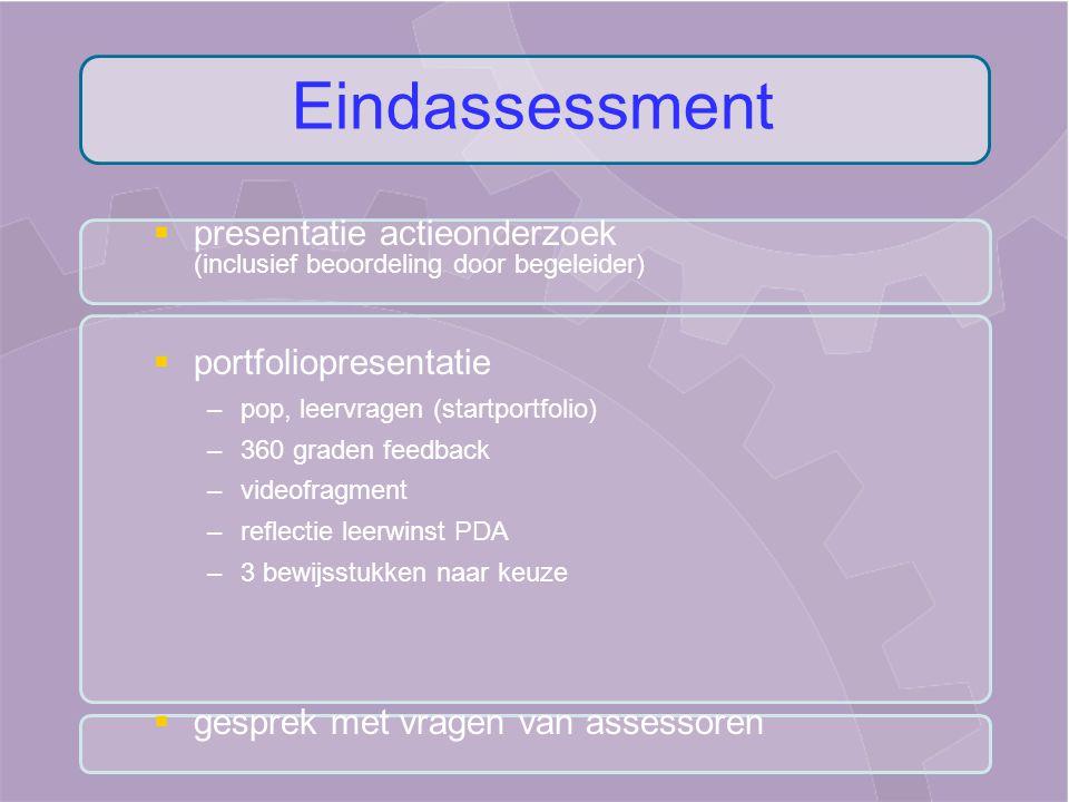 Eindassessment presentatie actieonderzoek (inclusief beoordeling door begeleider) portfoliopresentatie.