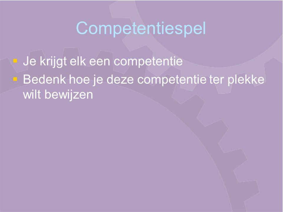 Competentiespel Je krijgt elk een competentie
