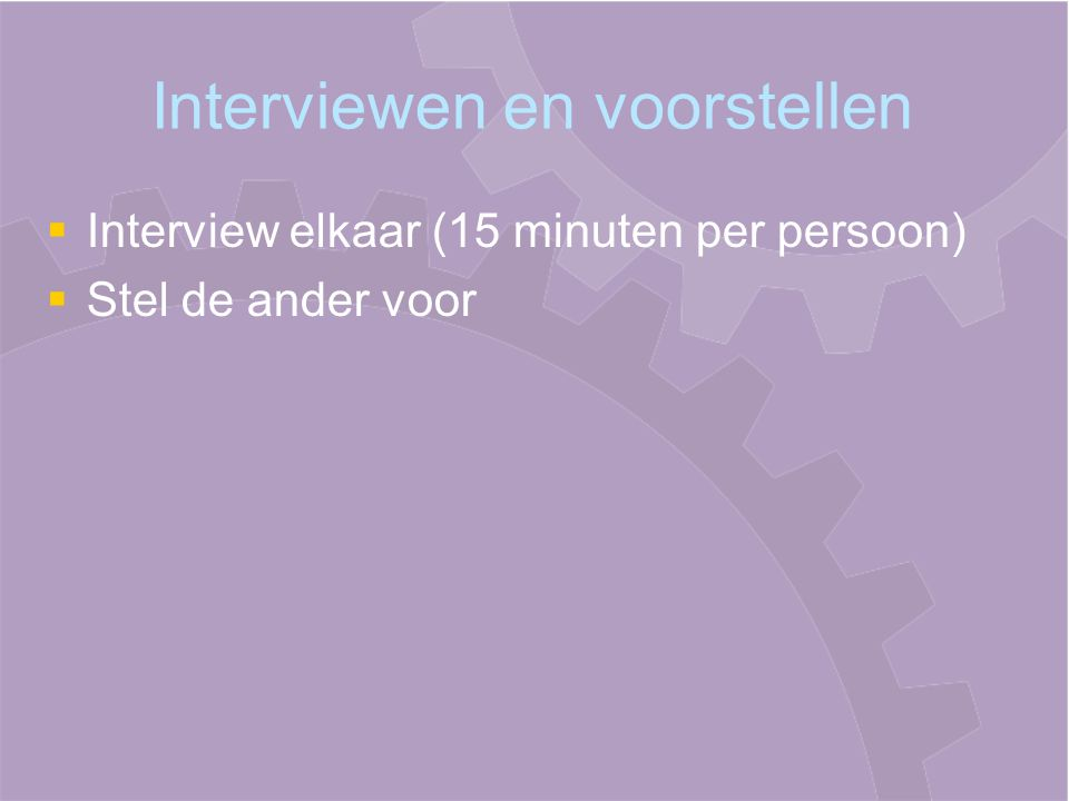 Interviewen en voorstellen