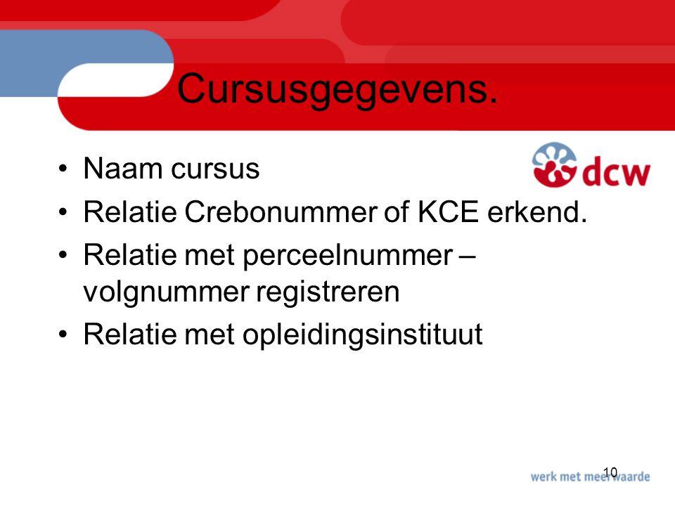 Cursusgegevens. Naam cursus Relatie Crebonummer of KCE erkend.