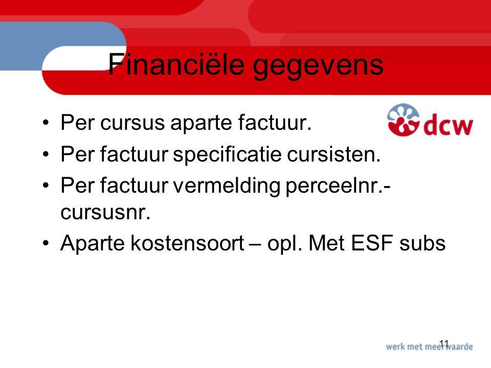 Financiële gegevens Per cursus aparte factuur.