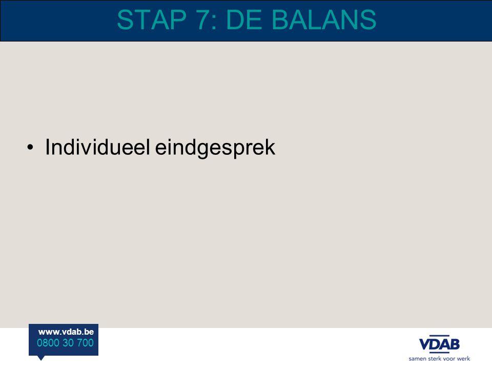 STAP 7: DE BALANS Individueel eindgesprek
