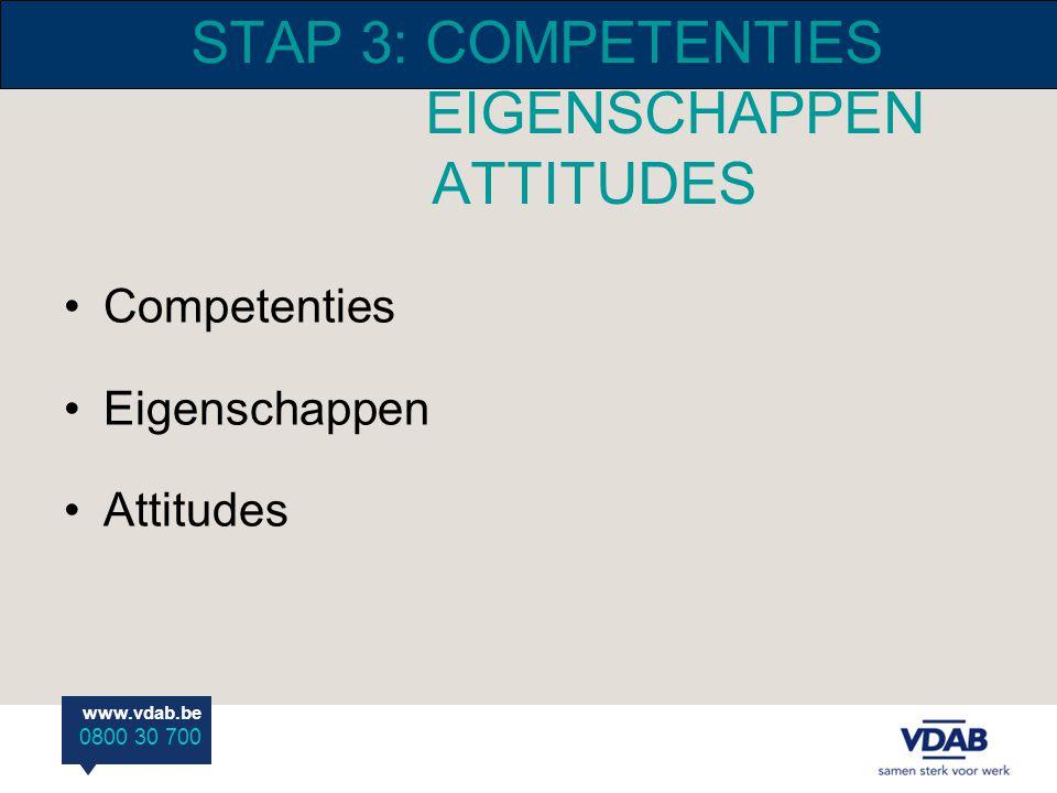 STAP 3: COMPETENTIES EIGENSCHAPPEN ATTITUDES