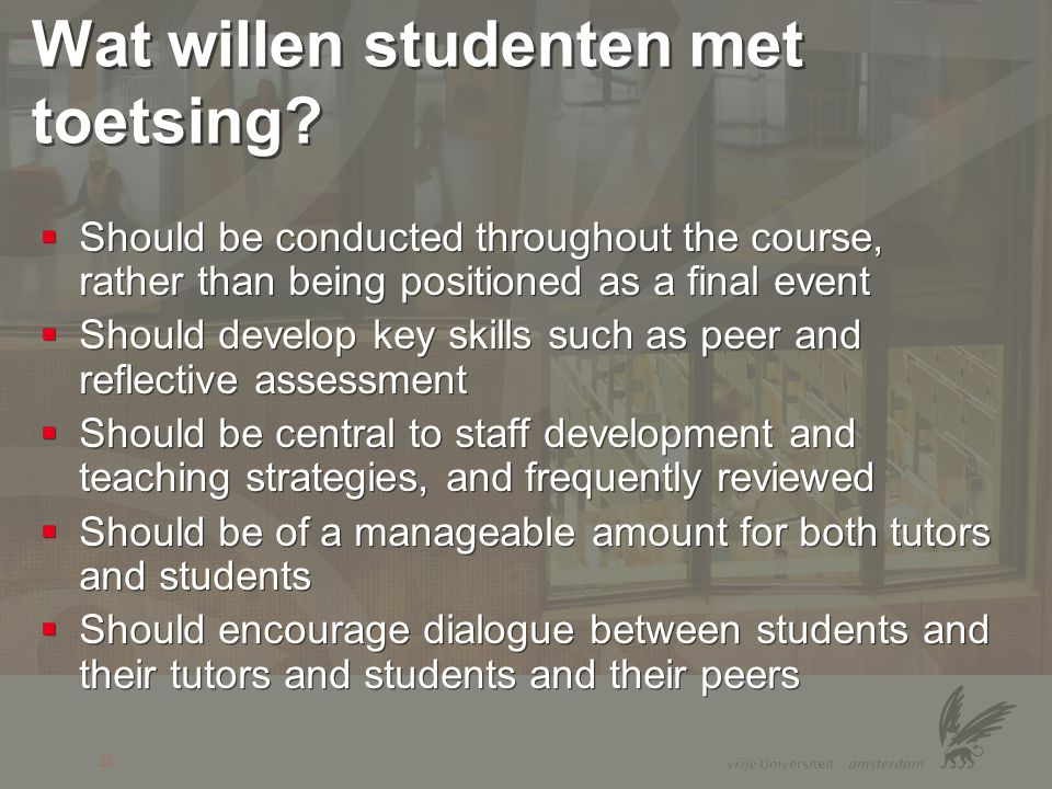 Wat willen studenten met toetsing