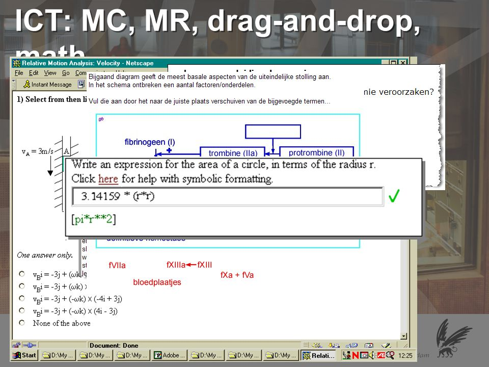ICT: MC, MR, drag-and-drop, math