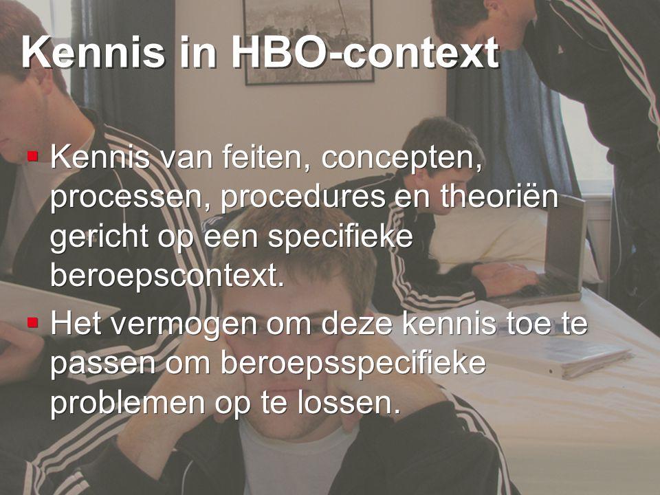Kennis in HBO-context Kennis van feiten, concepten, processen, procedures en theoriën gericht op een specifieke beroepscontext.