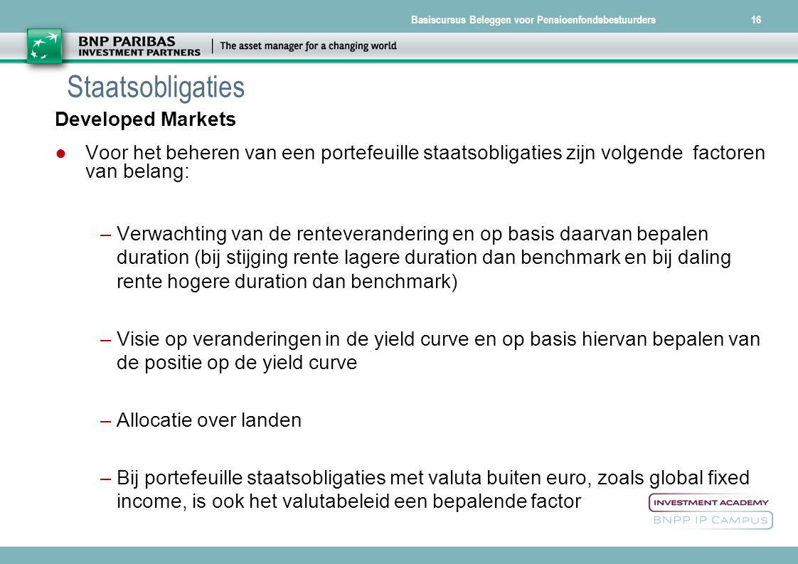 Staatsobligaties Developed Markets