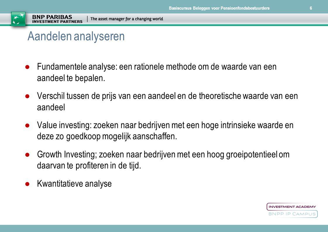 Aandelen analyseren Fundamentele analyse: een rationele methode om de waarde van een aandeel te bepalen.
