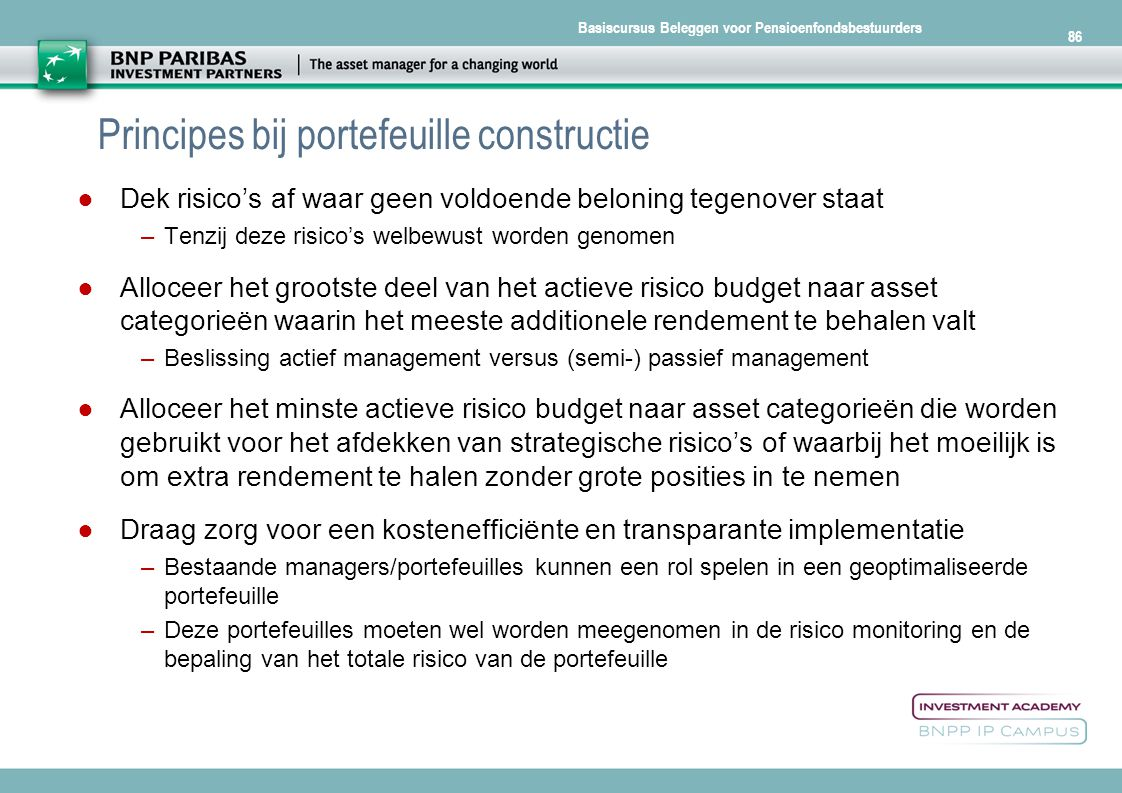 Principes bij portefeuille constructie