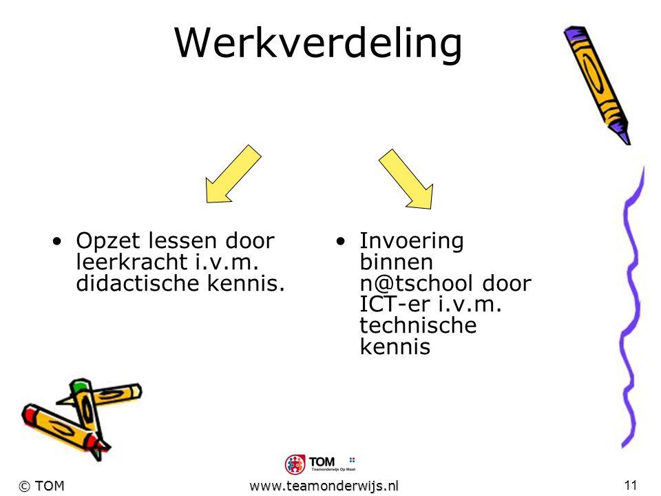 Werkverdeling Opzet lessen door leerkracht i.v.m. didactische kennis.