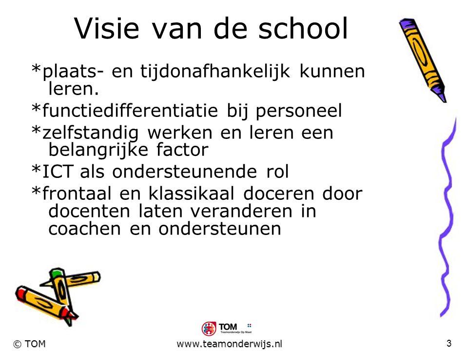 Visie van de school *plaats- en tijdonafhankelijk kunnen leren.