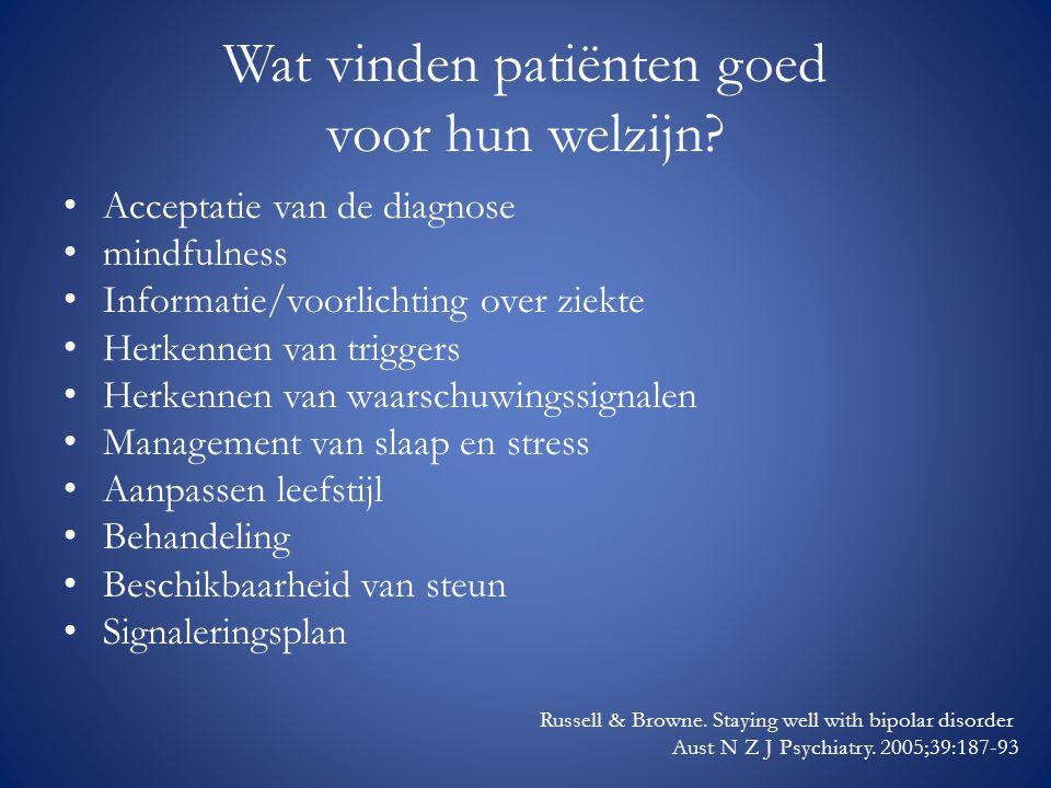Wat vinden patiënten goed voor hun welzijn