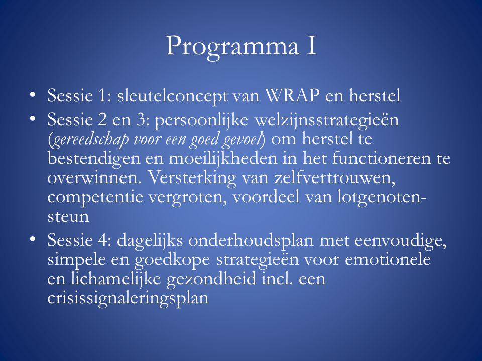 Programma I Sessie 1: sleutelconcept van WRAP en herstel