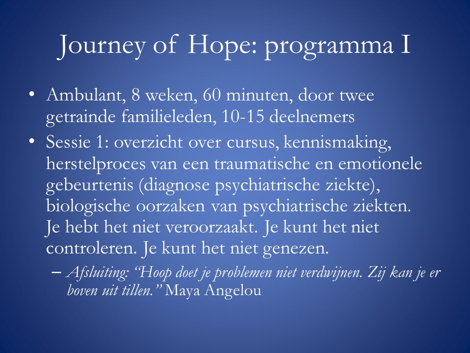 Journey of Hope: programma I